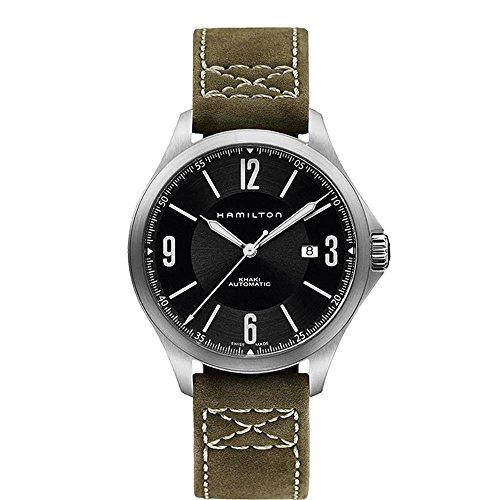 ハミルトン 腕時計 メンズ H76665835 【送料無料】Hamilton Aviation Black Dial SS Olive Leather Automatic Men's Watch H76665835ハミルトン 腕時計 メンズ H76665835