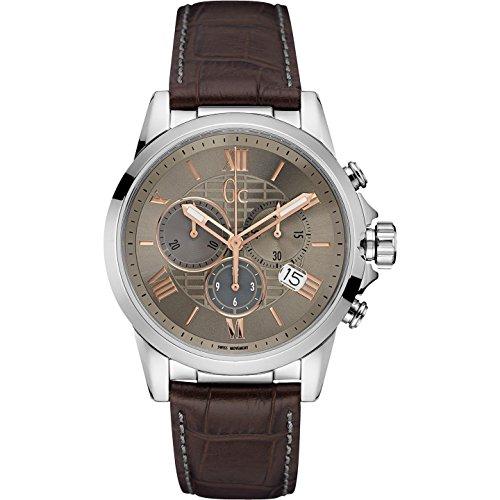 ゲス GUESS 腕時計 メンズ Y08001G1 【送料無料】GC Men's Esquire Brown Leather Band Steel Case Sapphire Crystal Quartz Beige Dial Analog Watch Y08001G1ゲス GUESS 腕時計 メンズ Y08001G1