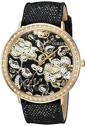 ゲス GUESS 腕時計 レディース U0820L1 【送料無料】GUESS Women's U0820L1 Trendy Gold-Tone Watch with Gold Dial , Crystal-Accented Bezel and Genuine Leather Strap Buckleゲス GUESS 腕時計 レディース U0820L1
