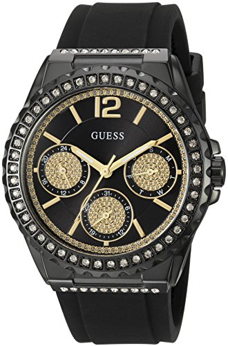 ゲス GUESS 腕時計 レディース U0846L1 【送料無料】GUESS Women's U0846L1 Sporty Black Watch with Black Dial , Crystal-Accented Bezel and Silicone Strap Buckleゲス GUESS 腕時計 レディース U0846L1