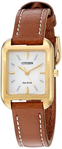 シチズン 逆輸入 海外モデル 海外限定 アメリカ直輸入 EM0492-02A 【送料無料】Citizen Women's 'Silhouette' Quartz Stainless Steel and Leather Casual Watch, Color:Brown (Model: EM0492-02Aシチズン 逆輸入 海外モデル 海外限定 アメリカ直輸入 EM0492-02A