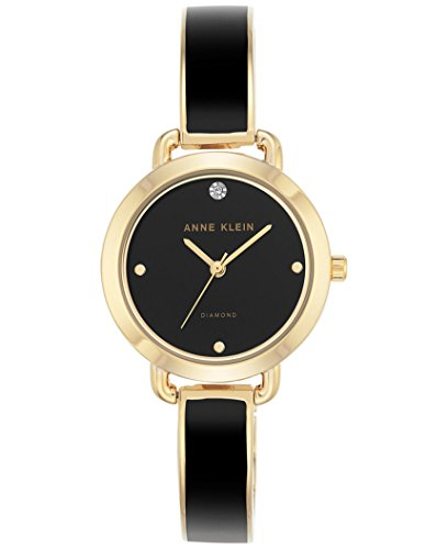 アンクライン 腕時計 レディース Anne Klein Women's Diamond Accent Black Enamel & Gold-Tone Bangle Bracelet Watch 30mm AK/2438BKGBアンクライン 腕時計 レディース