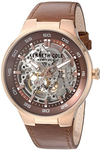 ケネスコール・ニューヨーク Kenneth Cole New York 腕時計 メンズ 10030824 Kenneth Cole New York Men's Stainless Steel Automatic-self-Wind Watch with Leather Calfskin Strap, Brown, ケネスコール・ニューヨーク Kenneth Cole New York 腕時計 メンズ 10030824