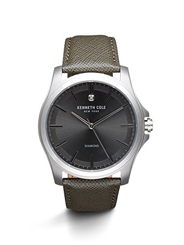 腕時計 ケネスコール・ニューヨーク Kenneth Cole New York メンズ 10027419 【送料無料】Kenneth Cole New York Men's 'Diamond Rock Out' Quartz Stainless Steel and Leather Dress 腕時計 ケネスコール・ニューヨーク Kenneth Cole New York メンズ 10027419