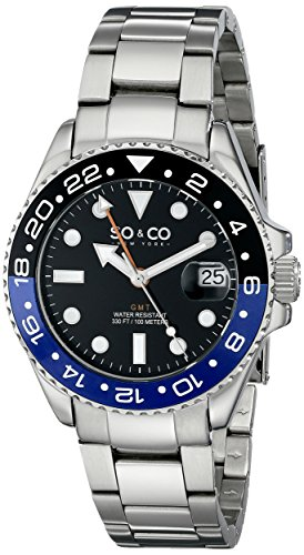 SO&CO ニューヨーク 腕時計 メンズ 5021.3 SO&CO New York Men's 5021.3 Yacht Club Stainless Steel Date Luminous Hands and Markers Blue and Black Unidirectional Bezel Stainless Steel Link Bracelet WatchSO&CO ニューヨーク 腕時計 メンズ 5021.3