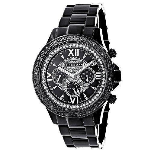 ラックスマン 腕時計 メンズ 0640206972819 Mens Black Diamond Watch 0.20ctw of Diamonds by Luxurman Black Steel Bandラックスマン 腕時計 メンズ 0640206972819