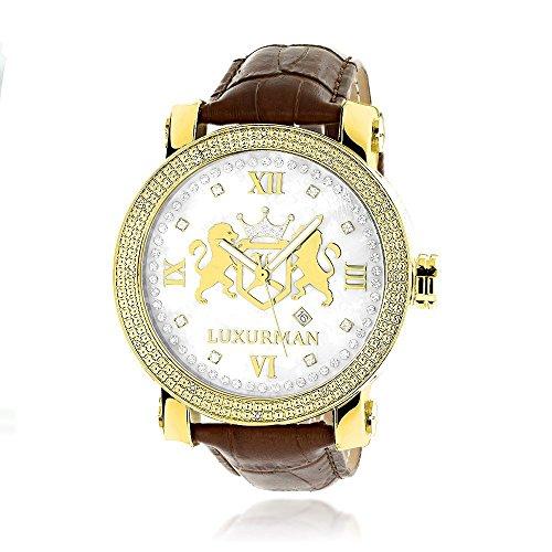 by 【送料無料】Mens Leather Plated 4331789483 メンズ White メンズ Luxurman腕時計 Diamond ラックスマン 0.12ctw Large Yellow Watch Gold MOP 腕時計 ラックスマン 4331789483 Phantom 18k Band
