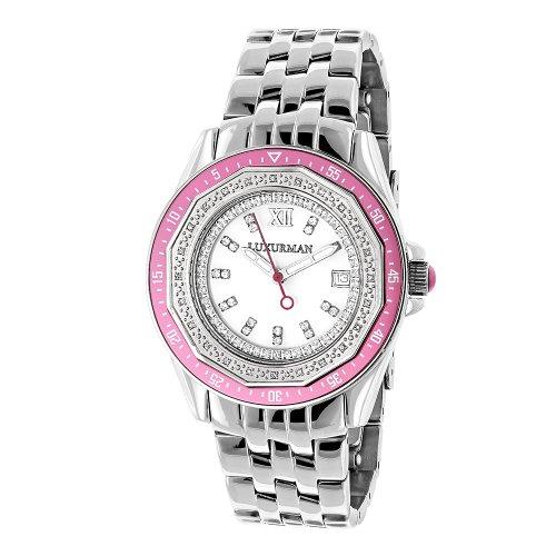 ラックスマン 腕時計 レディース 4331798164 LUXURMAN Womens Diamond Pink Watch 0.25ctラックスマン 腕時計 レディース 4331798164