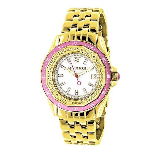ラックスマン 腕時計 レディース 4331798202 LUXURMAN Womens Diamond Watch 0.25ct Yellow Gold PLTDラックスマン 腕時計 レディース 4331798202