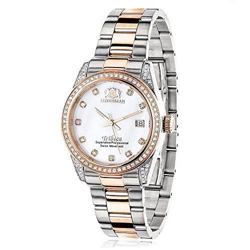 ラックスマン 腕時計 レディース Tribeca Two Tone Rose Gold Plated Women's Diamond Watch 1.5ctw of Diamonds by Luxurman Tribecaラックスマン 腕時計 レディース Tribeca