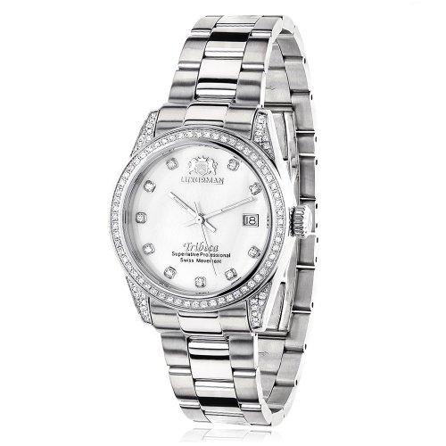 ラックスマン 腕時計 レディース Tribeca LUXURMAN Womens Diamond Watch Stainless Steel White MOP Tribeca 1.5ctラックスマン 腕時計 レディース Tribeca