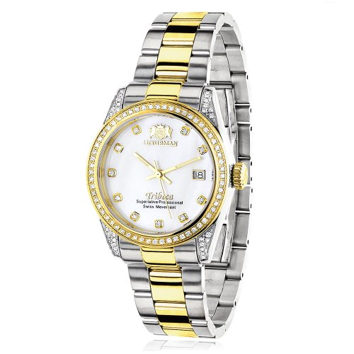 ラックスマン 腕時計 レディース Tribeca Luxurman Tribeca Real Diamond Watch For Women Swiss Quartz White MOP Two tone Yellow Gold Plated 1.5ctラックスマン 腕時計 レディース Tribeca