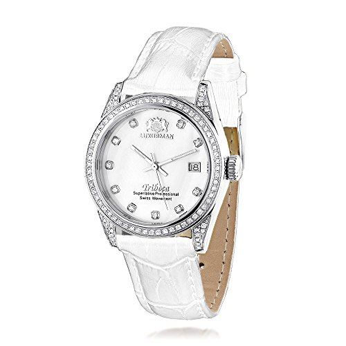 ラックスマン 腕時計 レディース 0639738921372 LUXURMAN Tribeca Womens Diamond Swiss Quartz Watch Stainless Steel 1.5ct w White MOP & Leather Bandラックスマン 腕時計 レディース 0639738921372