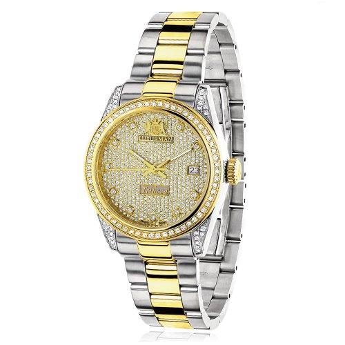 ラックスマン 腕時計 レディース 0640206974943 Womens White Yellow Gold PLTD Diamond Watch Two Tone LUXURMAN Tribeca 1.5ctラックスマン 腕時計 レディース 0640206974943