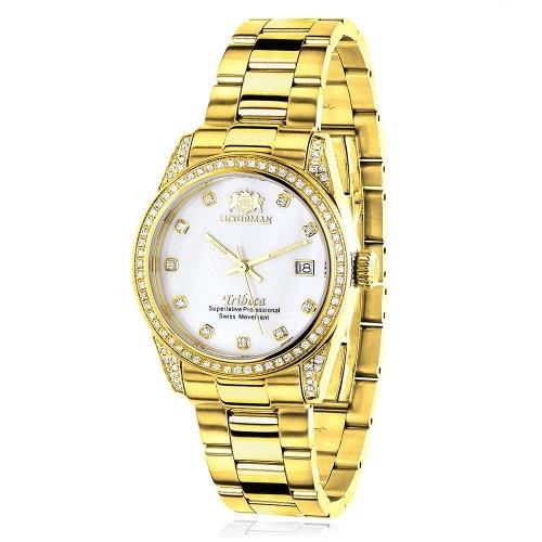 ラックスマン 腕時計 レディース 0640206974967 Women's Diamond Watch Yellow Gold Plated LUXURMAN Tribeca 1.5ctラックスマン 腕時計 レディース 0640206974967