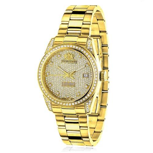 ラックスマン 腕時計 レディース 0640206974998 Iced Out LUXURMAN Ladies Diamond Yellow Gold Plated Watch 1.5ct Tribecaラックスマン 腕時計 レディース 0640206974998