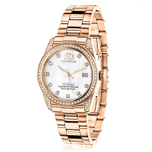 ラックスマン 腕時計 レディース Tribeca Luxurman Rose Gold Plated Diamond Watch for Women Tribeca 1.5ct Swiss Quartz White MOP Dial Metal Bandラックスマン 腕時計 レディース Tribeca