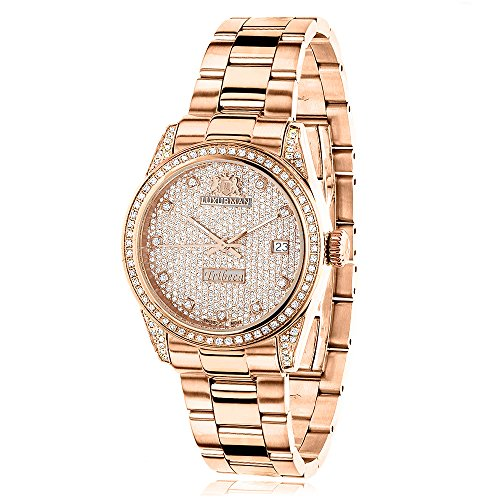 ラックスマン 腕時計 レディース Tribeca Rose Gold Plated Real Diamond Watch for Women 1.5ct LUXURMAN Tribeca w Extra Leather Bands Swiss Mvtラックスマン 腕時計 レディース Tribeca