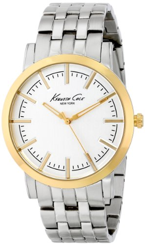 ケネスコール・ニューヨーク Kenneth Cole New York 腕時計 メンズ KC9335 Kenneth Cole New York Men's KC9335 Slim Round Silver Dial Yellow Gold Bezel Watchケネスコール・ニューヨーク Kenneth Cole New York 腕時計 メンズ KC9335