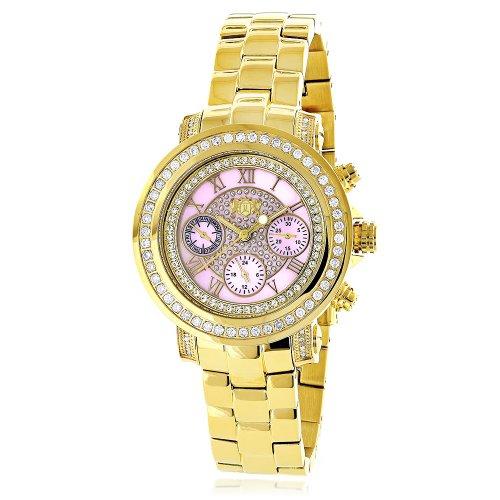 腕時計 ラックスマン レディース 【送料無料】LUXURMAN Montana Large Ladies Diamond Watch 2ct Yellow Gold Plated with Pink MOP腕時計 ラックスマン レディース
