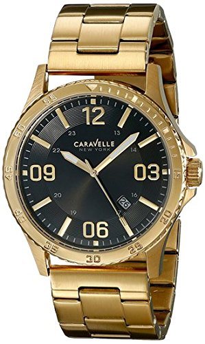 ブローバ 腕時計 メンズ 44B104 Caravelle New York Men's 44B104 Analog Display Japanese Quartz Yellow Gold Watchブローバ 腕時計 メンズ 44B104