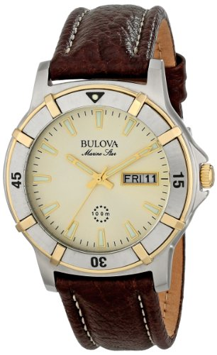 ブローバ 腕時計 メンズ 98C71 Bulova Men's 98C71 Marine Star Two-Tone Stainless Steel Watch with Brown Leather Bandブローバ 腕時計 メンズ 98C71