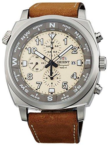 腕時計 オリエント メンズ FTT17005Y 【送料無料】ORIENT Sporty Quartz Chronograph 100M Pilot Watch Classic Beige TT17005Y腕時計 オリエント メンズ FTT17005Y
