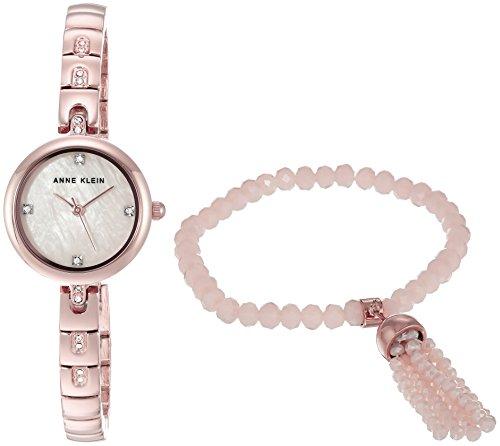 アンクライン 腕時計 レディース AK/2854RGST 【送料無料】Anne Klein Women's AK/2854RGST Swarovski Crystal Accented Rose Gold-Tone Watch and Beaded Bracelet Setアンクライン 腕時計 レディース AK/2854RGST