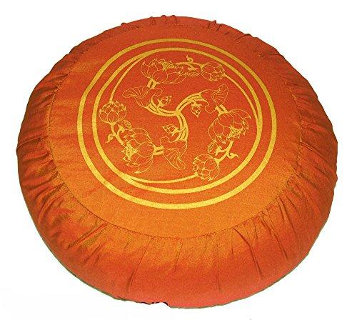 ヨガ フィットネス Boon Decor Meditation Cushion Zafu Lotus Enlightenment Wheel of Joy Bright Saffronヨガ フィットネス