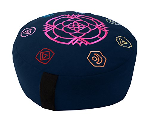 ヨガ フィットネス 【送料無料】Bean Products Chakra Dark Blue - Round Zafu Meditation Cushion - Yoga - 10oz Cotton - Organic Buckwheat Fill - Made in USAヨガ フィットネス