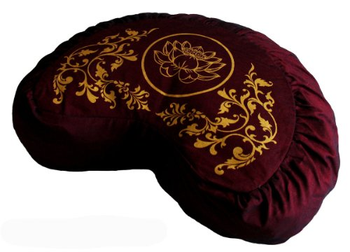 ヨガ フィットネス Boon Decor Meditation Cushion Zafu Lotus Enlightenment Sacred Symbol (Crescent Burgundy)ヨガ フィットネス