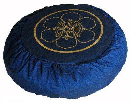 ヨガ フィットネス Boon Decor Meditation Cushion Zafu Lotus Enlightenment and Other Sacred Symbols (Dharma Wheel Blue)ヨガ フィットネス