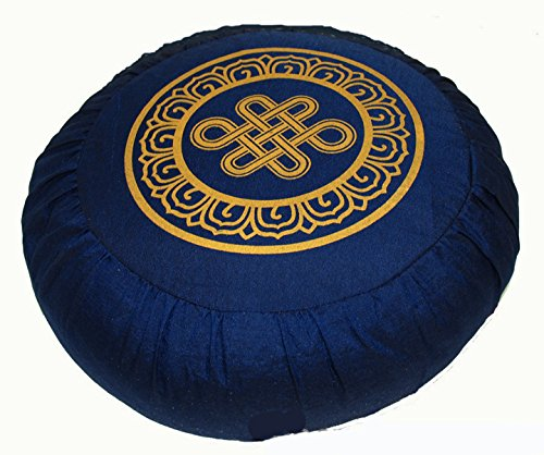 ヨガ フィットネス 【送料無料】Boon Decor Meditation Cushion Zafu Lotus Enlightenment and Other Sacred Symbols (Eternal Knot Blue)ヨガ フィットネス