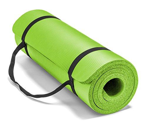 ヨガマット フィットネス 0034G Spoga Premium High Density Exercise Yoga Mat with Comfort Foam & Carrying Straps, Lime Green, 71