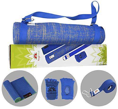 ヨガマット フィットネス 【送料無料】YogiMall Natural Jute Yoga Mat Kit - Ultimate Yoga Essentials Set for Home, Gym & Studio - Includes Non-Slip Socks, Cotton Strap & Hand Towel - Eco Friendly, Reversible, Non-Toxic and ヨガマット フィットネス