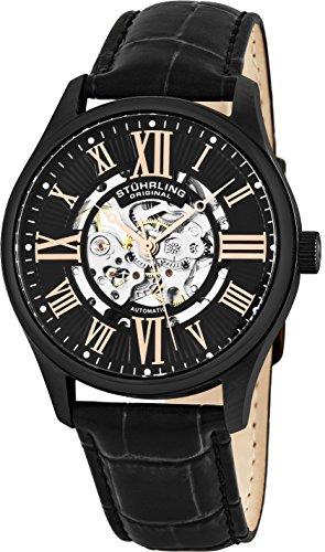 ストゥーリングオリジナル 腕時計 メンズ 747.03 【送料無料】Stuhrling Original Mens Stainless Steel Automatic Watch, Black Skeleton Dial, Leather Band, Gold Numerals and Hands, 747 Seriesストゥーリングオリジナル 腕時計 メンズ 747.03