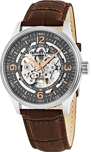 ストゥーリングオリジナル 腕時計 メンズ 730.02 【送料無料】Stuhrling Original Delphi Automatic Watch - Grey Skeleton Dial Wrist Watch for Men - Stainless Steel Brown Leather Analog Watch 730.02ストゥーリングオリジナル 腕時計 メンズ 730.02