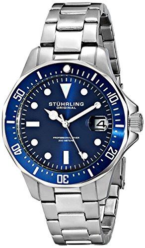 ストゥーリングオリジナル 腕時計 メンズ 664.02 Stuhrling Original Aquadiver Mens Dive Watch - Quartz Analog Waterproof Sports Watch - Blue Dial Date Display Swim Wrist Watch for Men - Luminous Waterproof Wストゥーリングオリジナル 腕時計 メンズ 664.02