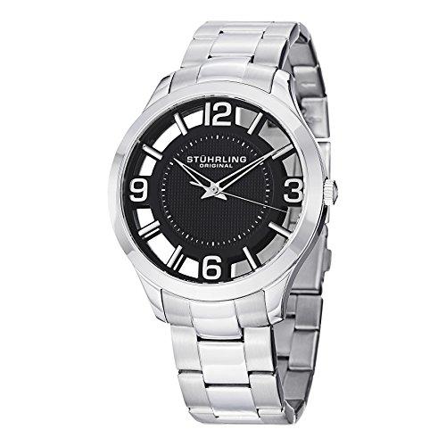 ストゥーリングオリジナル 腕時計 メンズ 754.02 【送料無料】Stuhrling Original Men's 754.02 Winchester Swiss Quartz Transparent Black Dial Watchストゥーリングオリジナル 腕時計 メンズ 754.02