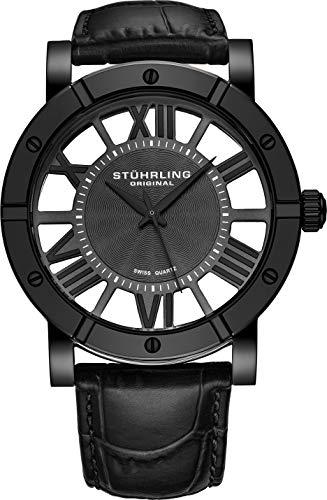 ストゥーリングオリジナル 腕時計 メンズ 881.03 【送料無料】Stuhrling Original Black PVD Mens Watch Red Leather Strap - Swiss Quartz Ronda Mvmt (Black)ストゥーリングオリジナル 腕時計 メンズ 881.03