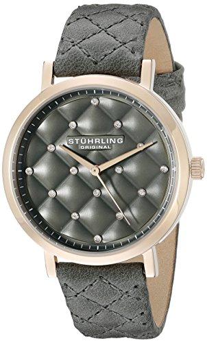 ストゥーリングオリジナル 腕時計 レディース 462.01 【送料無料】Stuhrling Original Women's Audrey Quartz Quilted Swarovski Crystal Dial Watch with Quilted Leather Band 462 Series (Grey)ストゥーリングオリジナル 腕時計 レディース 462.01