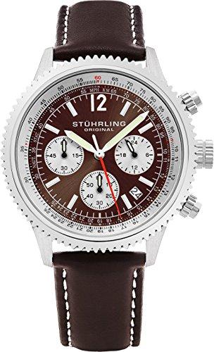 ストゥーリングオリジナル 腕時計 メンズ 669.03 Stuhrling Original Men's 669.03 Monaco Analog Japanese Quartz Brown Genuine Leather Watchストゥーリングオリジナル 腕時計 メンズ 669.03