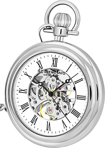 ストゥーリングオリジナル 腕時計 メンズ 6053.33113 Stuhrling Original Mens Vintage Mechanical Pocket Watch - Stainless Steel Analog Skeleton Hand Wind Mechanical Watch with Belt Clip Stainless Steel Chストゥーリングオリジナル 腕時計 メンズ 6053.33113