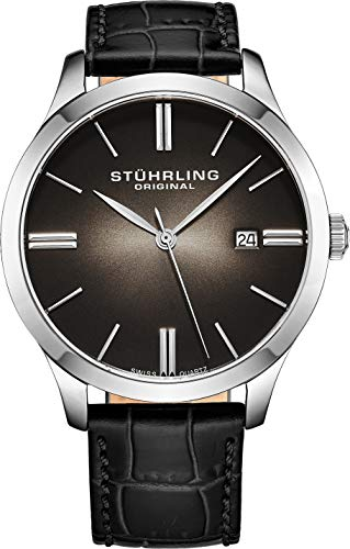 ストゥーリングオリジナル 腕時計 メンズ 490.33151 【送料無料】Stuhrling Original Classic Cuvette II Mens Black Watch - Swiss Quartz Analog Date Wrist Watch for Men - Stainless Steel Mens Designer ストゥーリングオリジナル 腕時計 メンズ 490.33151