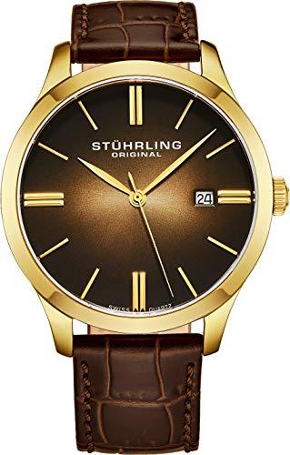 ストゥーリングオリジナル 腕時計 メンズ 490.3335K31 【送料無料】Stuhrling Original Men's 490.3335K31 Classic Cuvette II Swiss Quartz Movement 23k Gold-Plated Case Date Brown Leather Strap Watchストゥーリングオリジナル 腕時計 メンズ 490.3335K31
