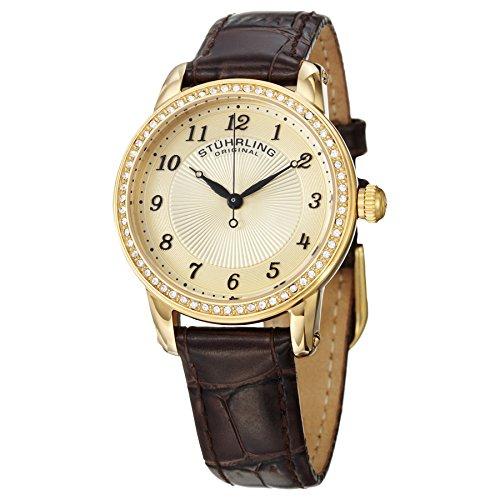 ストゥーリングオリジナル 腕時計 レディース 651.02 Stuhrling Original Women's Symphony Swiss Quartz Swarovski Crystal Bezel Leather Watch 651 Series (Brown/Gold)ストゥーリングオリジナル 腕時計 レディース 651.02
