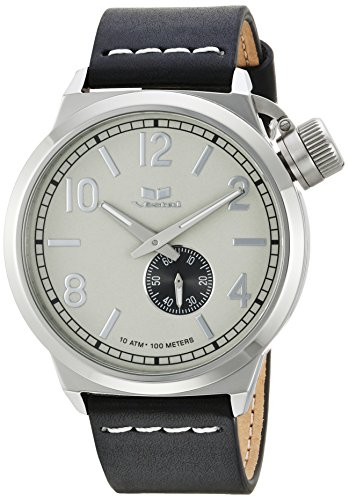 ヴェスタル Leather CNT3L03 Strap, メンズ ベスタル (Model: ヴェスタル Black, メンズ Steel Japanese-Quartz CNT3L03 Calfskin with Canteen 22 【送料無料】Vestal 腕時計 Italia ベスタル Stainless Watch CNT3L03)腕時計
