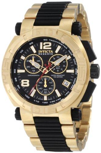 腕時計 インヴィクタ インビクタ リザーブ メンズ 1871 【送料無料】Invicta Men's 1871 Reserve Chronograph Black Dial 18K Gold Ion-Plated Stainless Steel Watch腕時計 インヴィクタ インビクタ リザーブ メンズ 1871