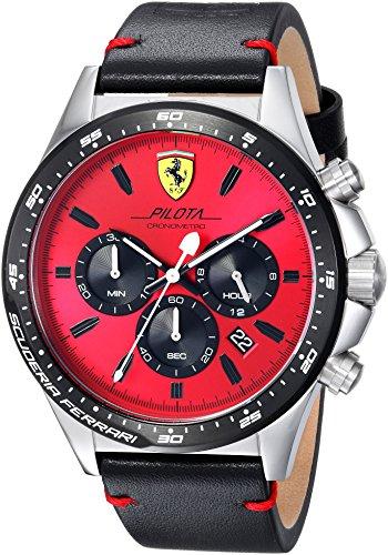 腕時計 フェラーリ メンズ 0830387 【送料無料】Scuderia Ferrari Men's Pilota Stainless Steel Quartz Watch Leather Calfskin Strap, Black, 0830387腕時計 フェラーリ メンズ 0830387