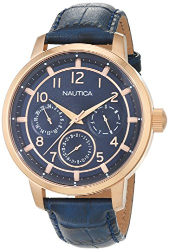ノーティカ 腕時計 メンズ NAD15523G Nautica Men's NCT 15 Multi II Stainless Steel Quartz Watch with Leather Strap, Blue, 20 (Model: NAD15523G)ノーティカ 腕時計 メンズ NAD15523G